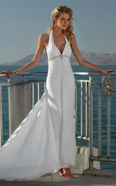 sheath V-neck Halter Beading Chiffon Wedding Dress
