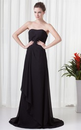 Strapless Maxi Chiffon Brush Train and Gown With Draping