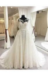 Elegant A-Line Floor-Length Scoop-Neck Sweep Train Wedding Dress With Illusion Back Style