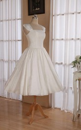 Straps Sleeveless Lace-Up Back Tea-Length Satin Wedding Dress