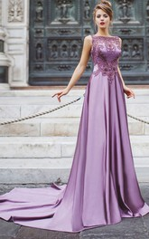 A-Line Court Train Bateau Sleeveless Satin Beading Appliques Illusion Dress