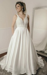 Beaded Sleeveless Simple Ballgown Elegant Plunging Satin Wedding Dress