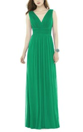V-neck Ruched Chiffon Long Bridesmaid Dress