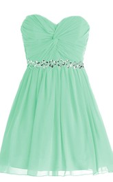 Sweetheart Ruched A-line Short Dress With Sequined Band