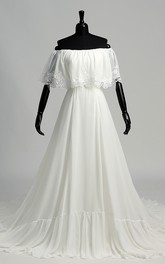 A-line Off-the-shoulder Sleeveless Chiffon Wedding Dress with Chapel Train