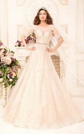 Scoop Neck Short Sleeve A-line Lace Wedding Dress With Beaded Waist