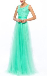 Scoop Sequins Beading A-Line Floor-Length Prom Dress