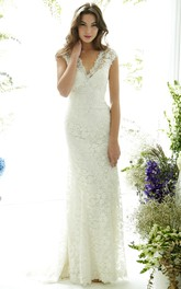Floor-Length V-Neck Cap-Sleeve Lace Wedding Dress With Brush Train And Illusion