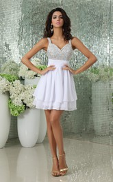 V-Neck Short Chiffon Dress With Pleating and Beading