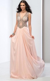 Deep-V Neck Open Back Sequins Long Prom Dress