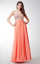 Stunning Sweetheart Long Chiffon Dress with Sequined Silver Bodice