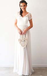 Sheath Pleated Short-Sleeve Maxi V-Neck Chiffon Wedding Dress With Beading And Backless Design
