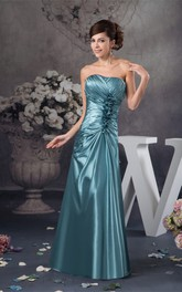 Strapless Maxi Criss-Cross Gown With Flower