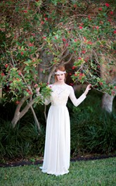Long Sleeve Chiffon Dress With Lace Bodice and Open Back
