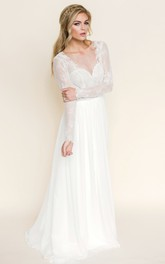 Maxi Illusion-Sleeve V-Neck Chiffon Wedding Dress With Lace And Backless Design