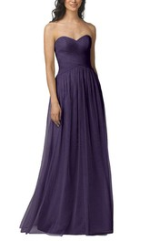 Ruched Tulle Criss-cross Bodice Long Dress