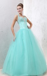 Sweetheart A-Line Ball Gown With Beaded Top and Tulle Overlay