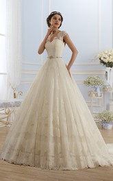 Ball Gown Floor-Length V-Neck Cap-Sleeve Keyhole Lace Dress With Appliques And Pleats