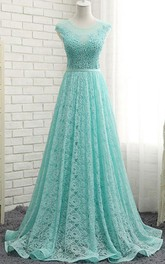 Scoop Neck Cap Sleeves Appliques Sequins Prom Dress