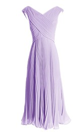 V-neck Criss-cross Chiffon A-line Gown With Zipper Back