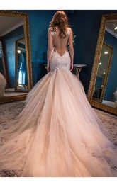 Mermaid Straps Backless Chapel Train Pink Wedding Dress with Lace Wedding Dresses