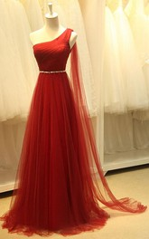 One-shoulder A-lien Beading Long Tulle Dress