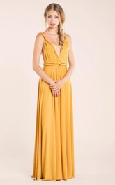 Deep-v Neck Backless A-line Jersey Long Dress With Sash