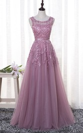 Romantic Bateau Sleeveless Tulle Floor-length Dress With Floral Appliques And Beading