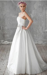 Strapless Taffeta A-Line Bridal Gown With Bow Sash