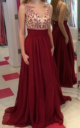 Gorgeous Burgundy Sleeveless 2018 Prom Dresses Long Chiffon Appliques Party Gowns