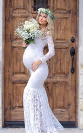 Lace Mermaid Illusion Long Sleeve Scoop Maternity Wedding Dress