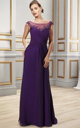 Scoop Neck Cap Sleeve Criss-Cross Chiffon Formal Dress