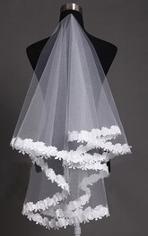 Long Lace Applique Soft Veil