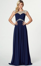 Bateau Neck Beaded Sleeveless Chiffon Prom Dress