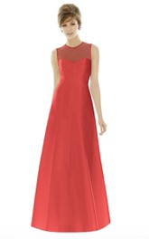 A-Line High-Neck Sleeveless Illusion Ruched Satin Gown