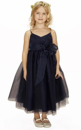 Flower Girl Spaghetti Straps Surplice Neck Tulle Ball Gown