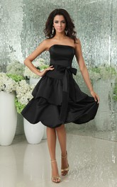 Satin Strapless Short Dress With Ribbon and Layered Skirt