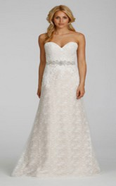Luxurious Sweetheart Neckline Lace Dress With Crystal Beaded Belt
