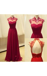 Gorgeous High-Neck Burgundy Long 2018 Prom Dresses Chiffon Beadings Appliques