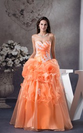 Sweetheart Ruffled Appliques and Ball-Gown With Flower