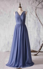 V Neck V Back Pleated A-line Chiffon Long Dress With Beadings