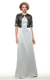 Elegant Satin Sheath V-Neck Long Dress with Bolero