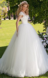 Ball Gown V-Neck Ruched Cap Sleeve Tulle Wedding Dress