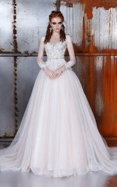 A-Line Ball Gown Bell Long Sleeve Weddig Dress
