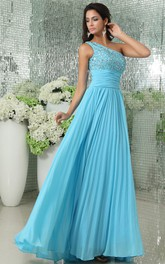 Sleeveless Chiffon Pleated A-Line Long Dress With Beaded Bodice
