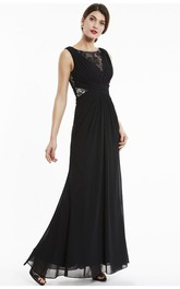 A-line Chiffon Sleeveless Bateau Elegant Gown With Lace Appliqued Top