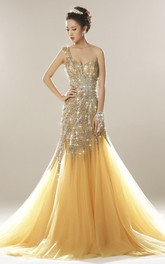 One Shoulder Beaded Open Back Luxury Tulle Mermaid Dress With Appliques