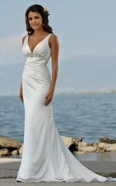 Sexy V Neck sheath Sweep Train Beaded Beach Wedding Dresses