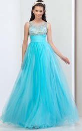 A-Line Sheer Neck Beading Prom Dress