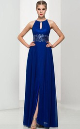 A-Line Keyhole Neck Sequins Split-Front Long Prom Dress